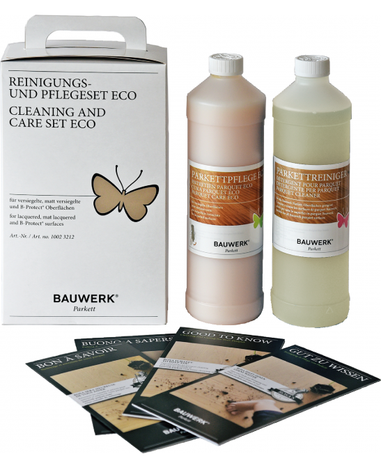Cleaning and care set for lacquered parquet